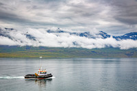 A pilot boat in the Fjord of Reydarfjordur