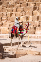 A camel and rider in front of the Great Pyramid of Khufu