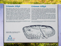 EX0526C-D02786 : A interpretation board for Grianan Ailligh, an Iron Age hill fort built on a Neolithic burial mound in Co. Donegal, Ireland.