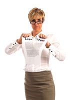 A determined business woman rips up a legal fees document
