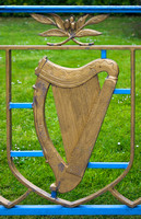 EX0518A-D01705 : Irish harp decoration on a railing in the Garden of Remembrance, Parnell Square, Dublin.