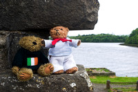 EX0526B-D02751 : Two Teddy Bears, Beni and Blarni at Donegal Friary and cemetery