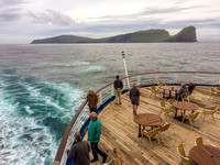 MV Marco Polo sails away from the Faroe Islands