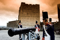 Early 19th century cannons and artillery men