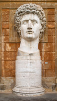 Head of a giant Roman statue of the Emperor Augustus