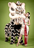 Chinese woman with dancing lion
