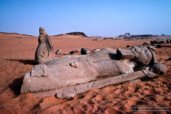 The fallen statue of Ramses at Wadi al-Sebua.