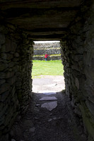 EX0526C-D02809 : Looking through the entrance into Grianan Ailligh, an Iron Age hill fort built on a Neolithic burial mound in Co. Donegal, Ireland.