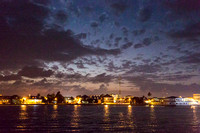 Belize City at night from the sea