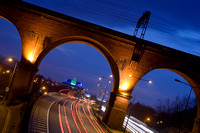 M60 Motorway, Stockport Pyramid and Viaduct at night